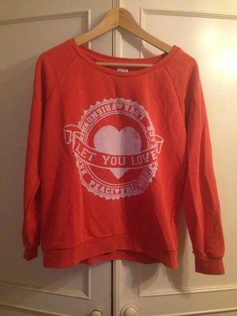 Bluza Zara Czerwona serce z sercem sweter sportowa biała blog koralowa