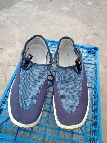 Męskie granatowe buty wsuwane