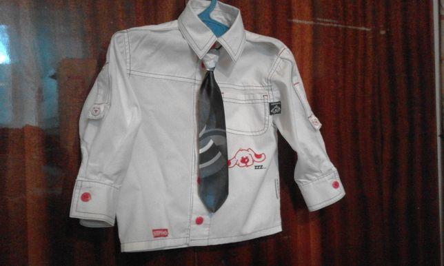 Рубашка белая модная до 3 лет