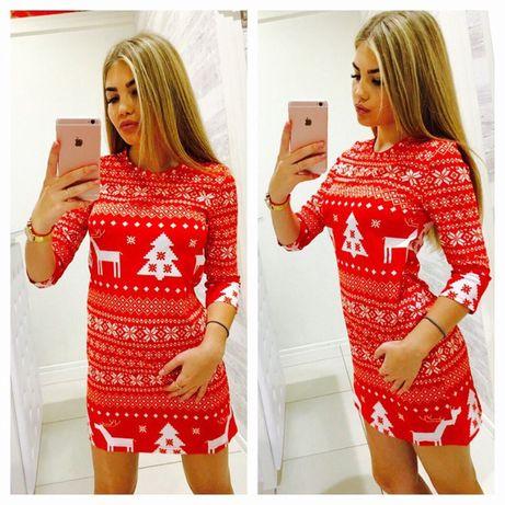 Czerwona, świąteczna sukienka