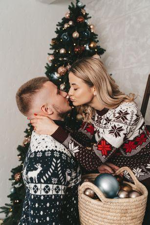 Зимний свитер. Новогодний свитер. Парные свитера с оленями.