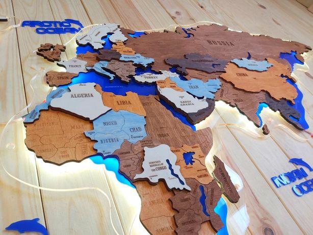 Шикарная деревянная 3D карта мира с LED подсветкой. Настенный декор.