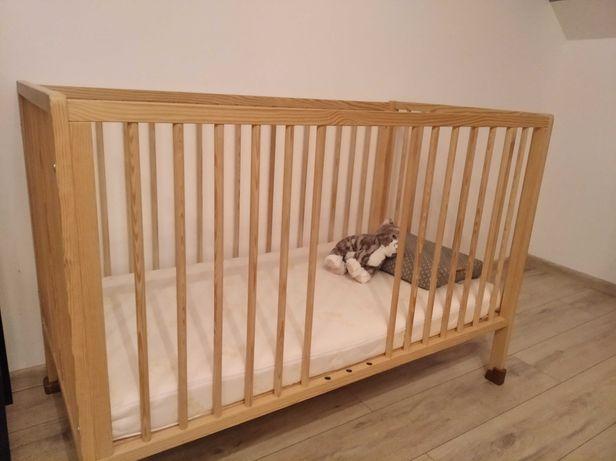 Łóżeczko drewniane z regulacją,materac piankowym Hevea 60x120+Gratisy