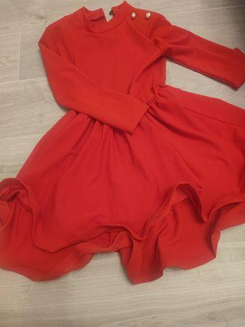 Sukienka czerwona złote guziki Lou