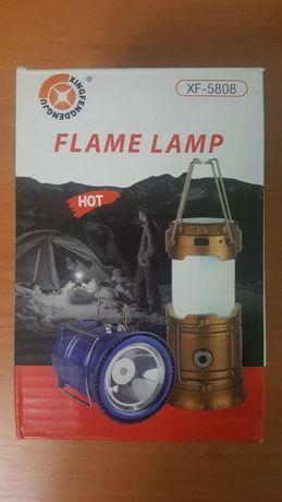 Кемпинговый фонарь LED лампа с эффектом пламени фонарик мощный