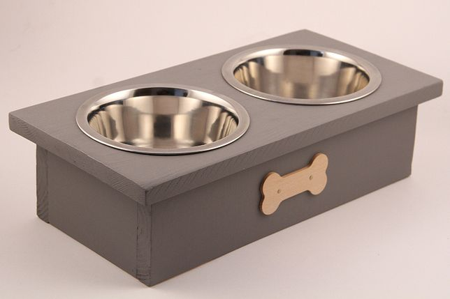 DREWNIANY Bufet STOJAK na miski dla psa, miski