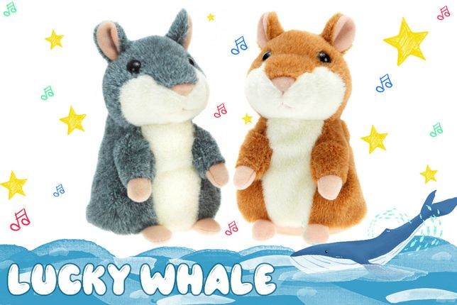 Говорящий хомяк повторюшка детская интерактивная мягкая игрушка плюш