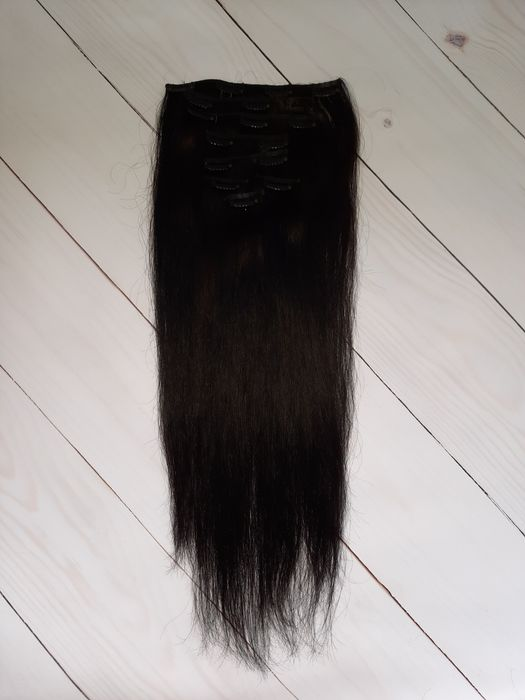 Натуральные волосы на заколках 50 см, 8 прядей, 100г! черно-коричневые Одесса - изображение 1