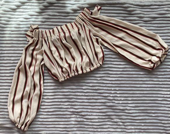 Шифоновый кроп-топ , топ укороченный , топ блуза