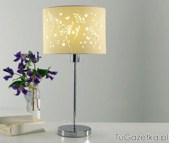 Lampka na stół z abażurem w kwiatki Tchibo
