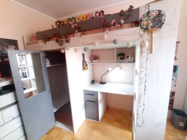 PILNE!!! Łóżko piętrowe z garderobą, szafą, regałami i biurkiem