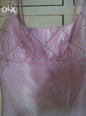Vestido de Cerimónia comprido rosa pálido com brilhantes