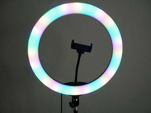 Кольцевая RGB ( цветная ) лампа 33см, штатив, селфи пульт, шарнир