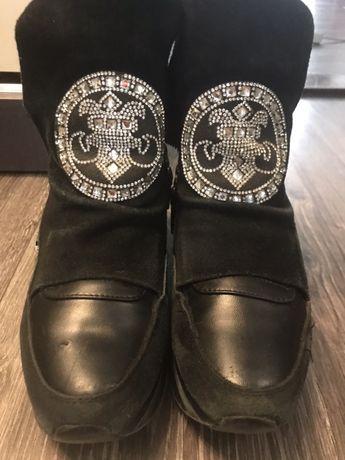 Ботиночки кожаные с замшем и камушками
