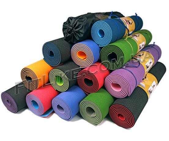 Коврик + чехол Yoga Mat TPE 6-8 мм каремат для фитнеса, йоги, пилатеса