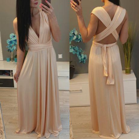 Beżowa sukienka maxi sukienka długa wiązana piękna s m l xl