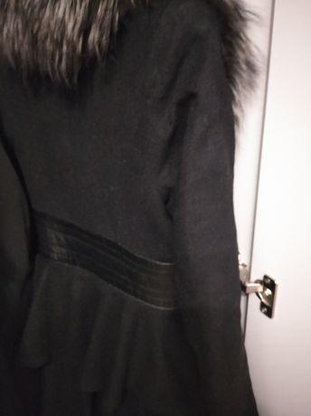 Пальто S зимнее/осеннее женское кожа и мех по колено притал