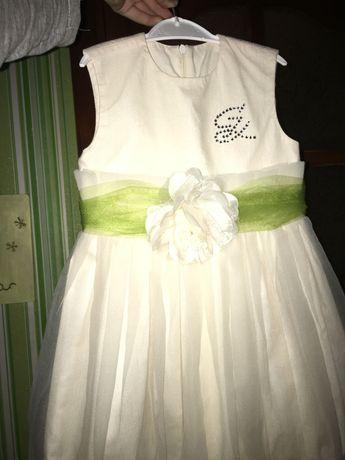 Платье праздничное , шикарное декорированное цветком, бежевое Mone