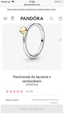 Pierścionek pandora tt srebro plus złoto