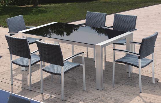 Meble ogrodowe stół wygodne krzesła nowe srebrne czarne