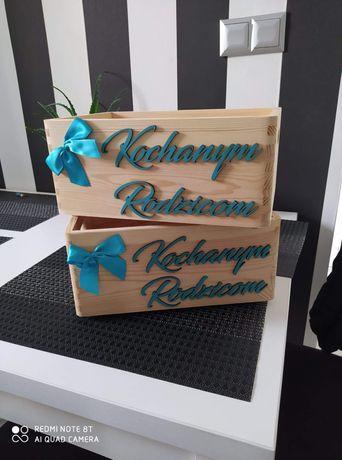 Skrzynki na prezenty dla rodziców wesele