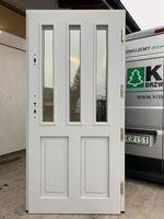 Drzwi Zewnętrzne drewniane ocieplane Angielskie, Białe, Szare,Zielone