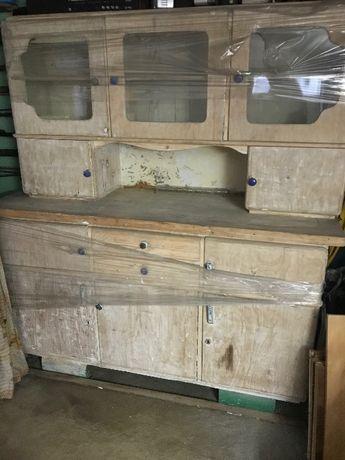 Kredens zabytkowy drewniany, szafka, witryna, retro, prl, stan dobry