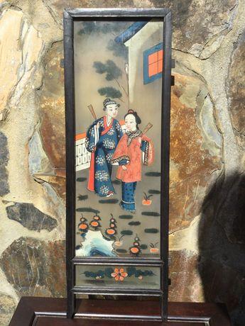 Painel Chinês Pintura em vidro séc XIX 49,6 cm