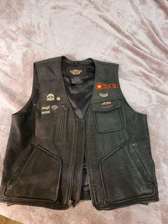 Harley Davidson  байкерская  кожанная клубная жилетка