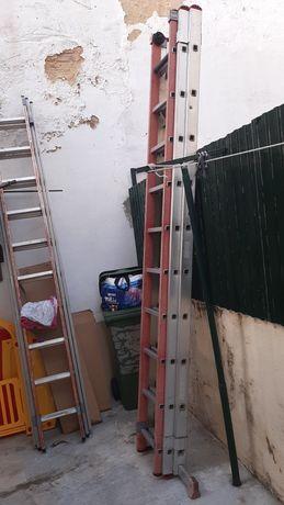 Escada de alumínio com lance de fibra das mais reforcadas e com corda