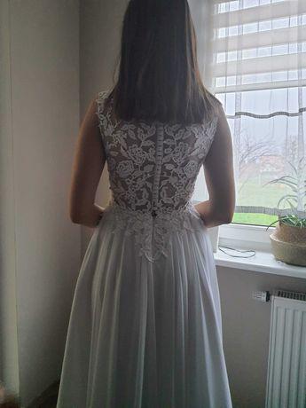 Suknia ślubna koronka + muślin, gratis biżuteria