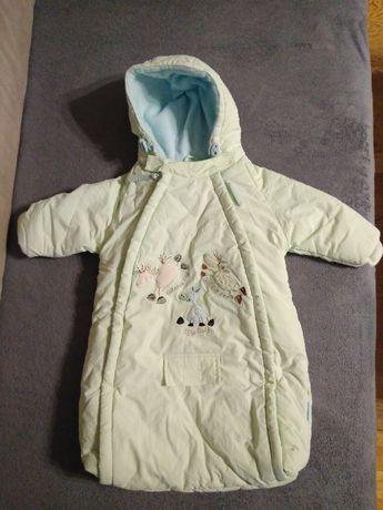 Bardzo ciepły, zimowy kombinezon / śpiworek dla niemowlaka r. 62