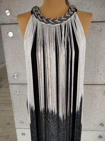 Nowa sukienka sylwester wesele S/M frędzle Realty unikat oryginalna