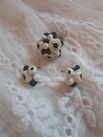 Комплект серьги, кольцо, браслет, ручная работа, полимерная глина