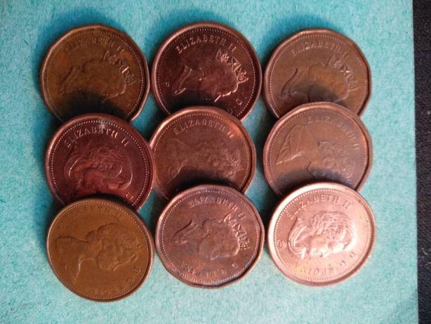 Канадские монеты номинал 1 Цент 9 штук разные года без повторов