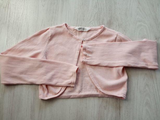 Bolerko sweterek pudrowy róż H&M 134/140