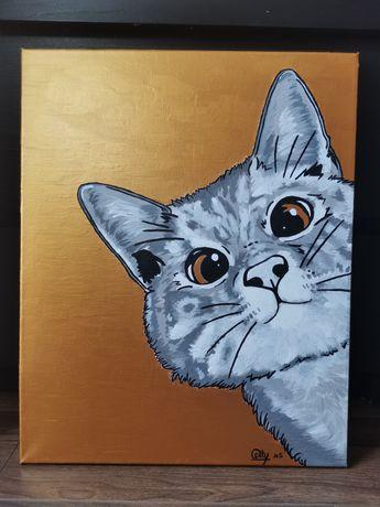 Obraz kot kotek śmieszny złoty duży 40x50 cm chrom