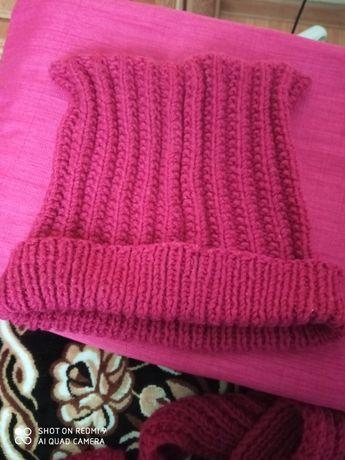 Шапка с шарфом зимняя