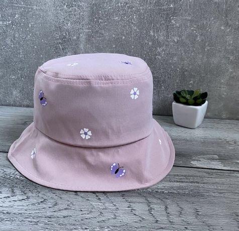 Детская розовая панамка