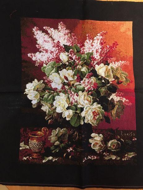 Картина Сирень и розы,вышивка крестиком