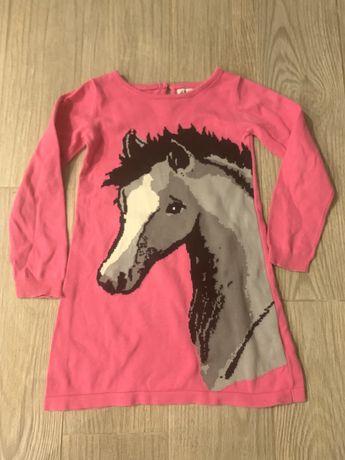 Tunika /sukienka sweterkowa z nadrukiem konia 4-6 lat, h&m