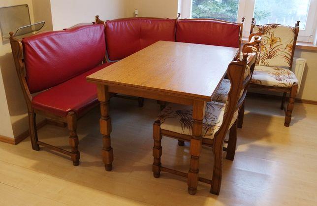 Zestaw mebli jadalnia stół narożnik ława krzesła solidne duże kuchnia