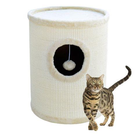 17016 Beżowa TUBA drapak dla kota z legowiskiem 50cm