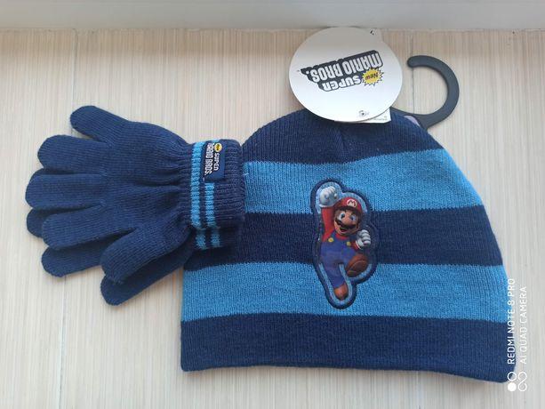 Комплект шапка и перчатки демисезонный