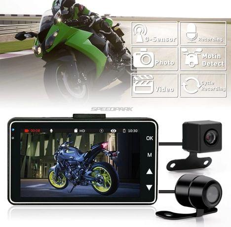 Gravador vídeo e imagem FullHD com ecrã LCD para motas com 2x câmeras