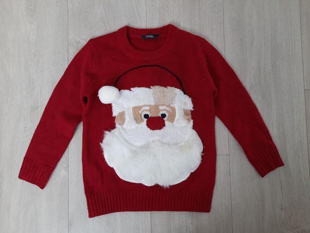 Sweter świąteczny ze świecącym nosem, broda 3d, 104-110, 4-5 lat