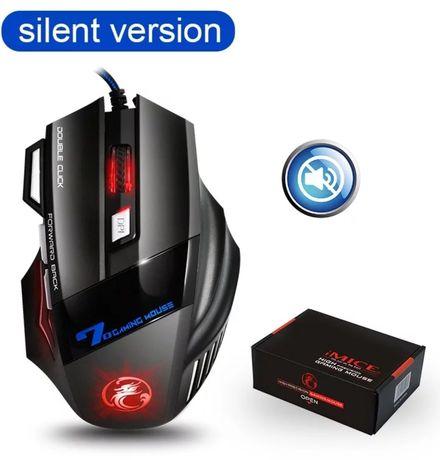 Игровая мышь Imice X7 USB 5500DPI LED Черная, бесшумная мышь