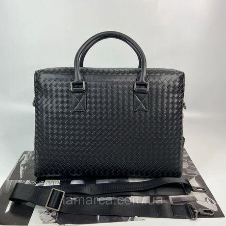 Мужской деловой портфель Bottega Veneta чоловічий діловий Черный