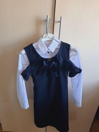 Шкільна дівчача сукня в комплекті з сорочкою