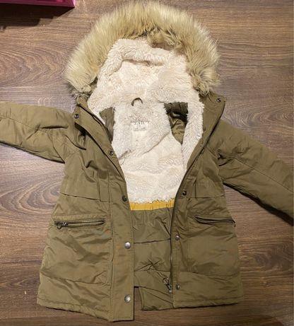 Ciepła zimowa kurtka dziewczęca, dla dziewczynki Zara 116